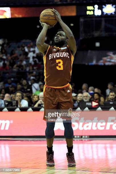 Will Bynum of the Bivouac attempts a shot in the first half against the Killer 3's during week seven of the BIG3 three on three basketball league at...