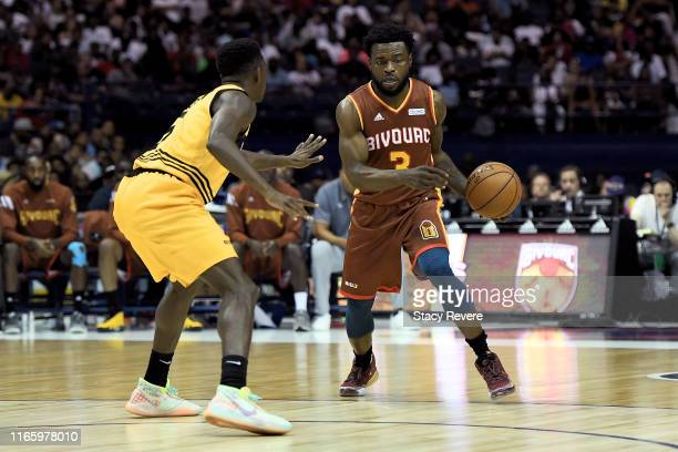 Will Bynum of the Bivouac dribbles the ball while being guarded by Franklin Session of the Killer 3's in the first half during week seven of the BIG3...