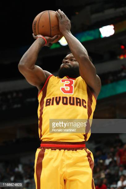 Will Bynum of the Bivouac shoots the ball against the Ball Hogs during week nine of the BIG3 three on three basketball league at American Airlines...