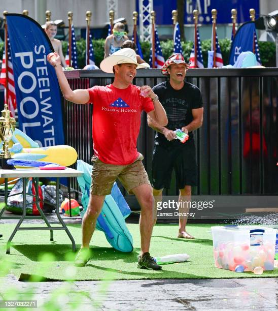 Will Cain and Pete Hegseth celebrate Independence Day on 'Fox & Friends Weekend' on July 04, 2021 in New York City.