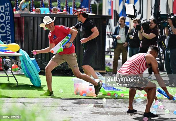 Will Cain, Pete Hegseth and Lawrence Jones celebrate Independence Day on 'Fox & Friends Weekend' on July 04, 2021 in New York City.