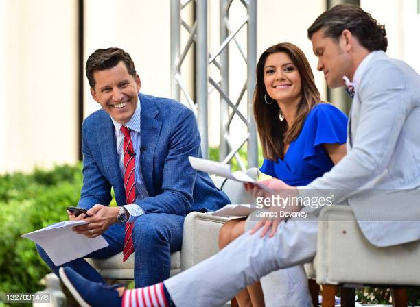 Will Cain, Rachel Campos-Duffy and Pete Hegseth celebrate Independence Day on 'Fox & Friends Weekend' on July 04, 2021 in New York City.