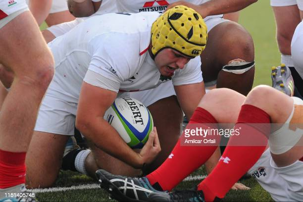 Will Capon of England U20 scores a try during a Fifth place playoff match between England U20 and Wales U20 as part of World Rugby U20 Championship...