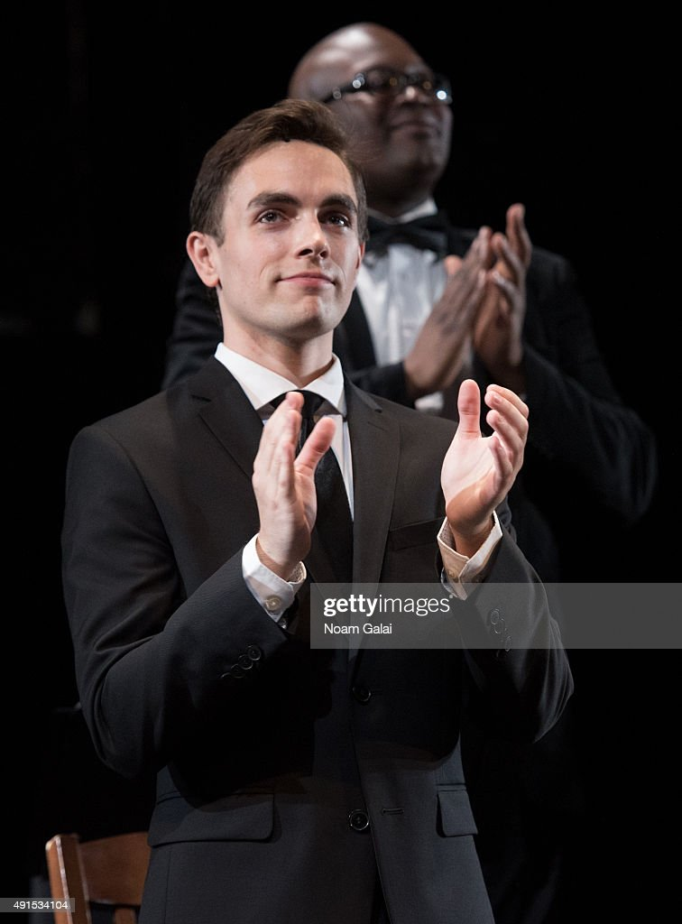 Will Carlyon performs during the 'Gross Indecency: The Three Trials Of Oscar Wilde' curtain call at Gerald W. Lynch Theatre on October 5, 2015 in New York City.