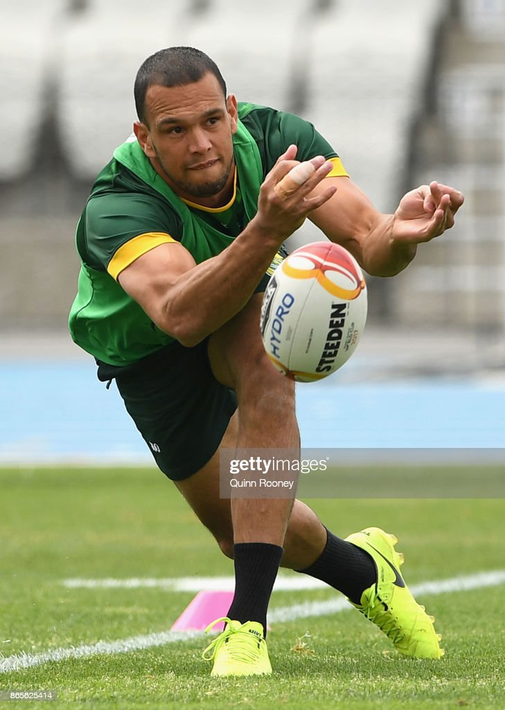 Will Chambers of Australia passes the ball during an Australian Kangaroos training session at Lakeside Stadium on October 24, 2017 in Melbourne, Australia.