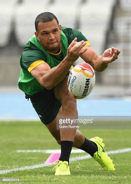 Will Chambers of Australia passes the ball during an Australian Kangaroos training session at Lakeside Stadium on October 24 2017 in Melbourne...