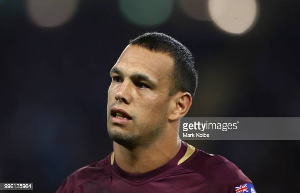 Will Chambers of Queensland looks on during game three of the State of Origin series between the Queensland Maroons and the New South Wales Blues at...