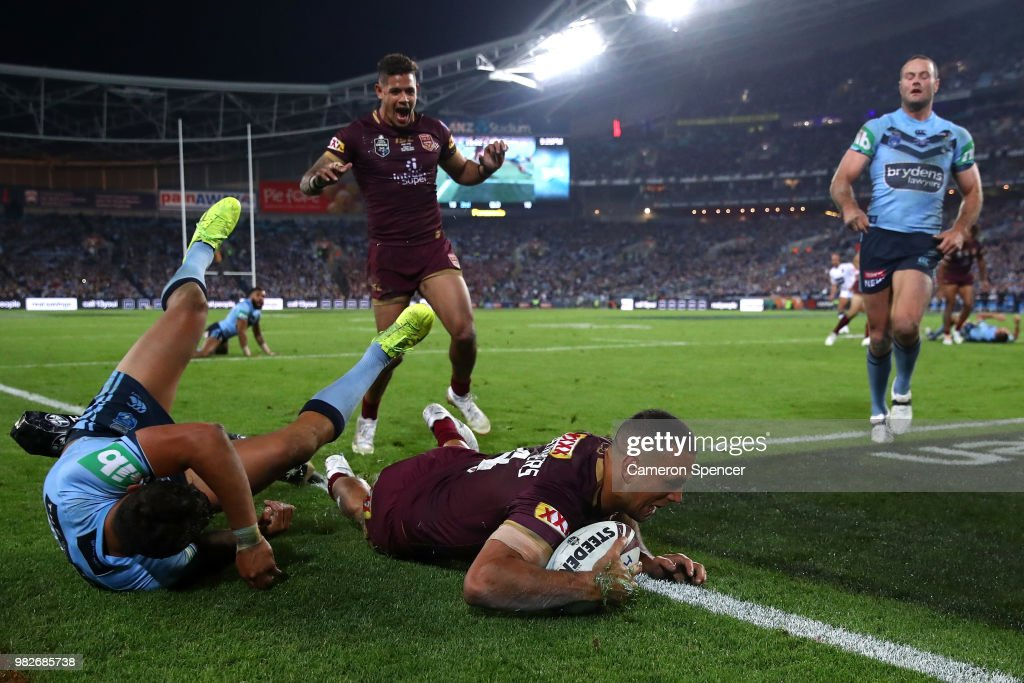Will Chambers of Queensland scores a try during game two of the State of Origin series between the New South Wales Blues and the Queensland Maroons at ANZ Stadium on June 24, 2018 in Sydney, Australia.
