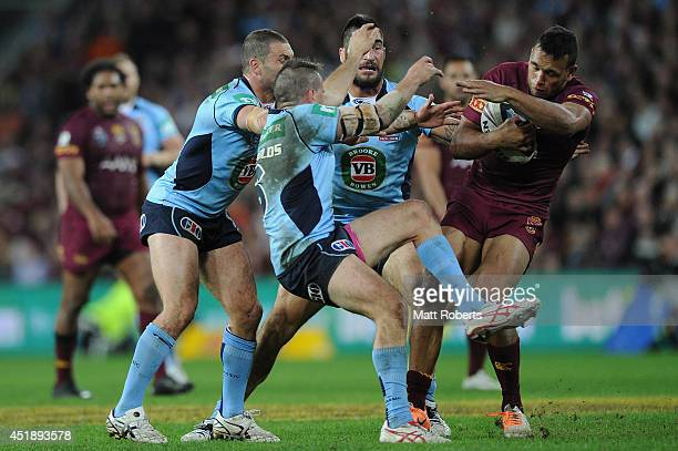 Will Chambers of the Maroons collides with Josh Reynolds of the Blues during game three of the State of Origin series between the Queensland Maroons...