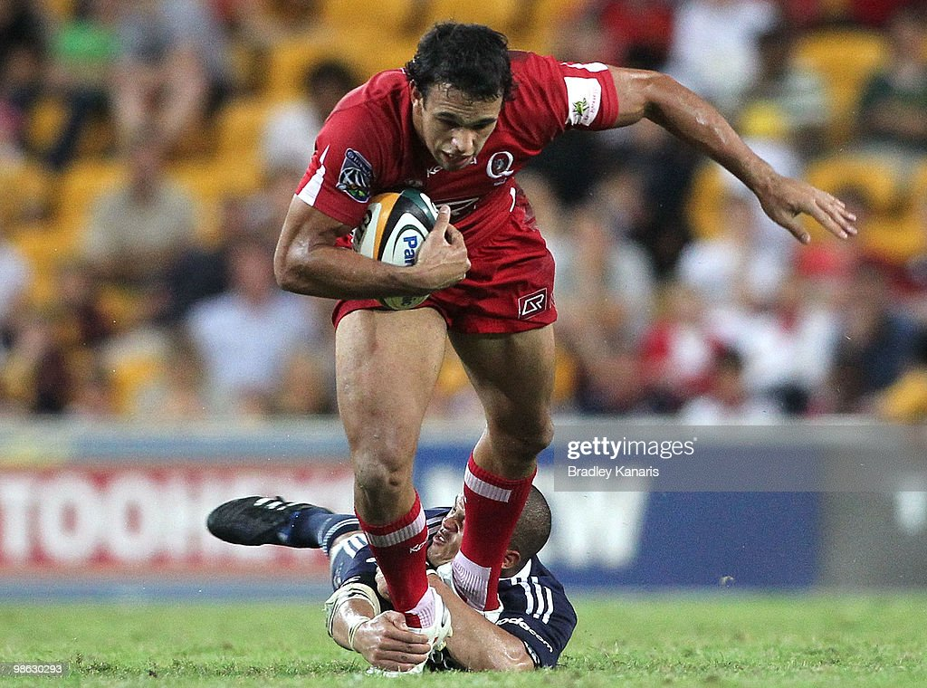 Will Chambers of the Reds attempts to break through the Stormers defence during the round eleven Super 14 match between the Reds and the Stormers at Suncorp Stadium on April 23, 2010 in Brisbane, Australia.