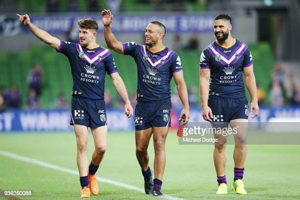 Will Chambers of the Storm celebrates the win during the round three NRL match between the Melbourne Storm and the North Queensland Cowboys at AAMI...