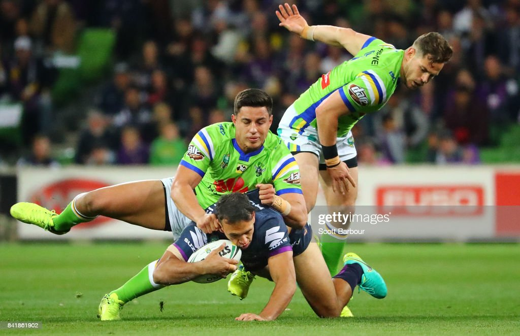 Will Chambers of the Storm is tackled during the round 26 NRL match between the Melbourne Storm and the Canberra Raiders at AAMI Park on September 2, 2017 in Melbourne, Australia.