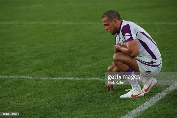 Will Chambers of the Storm looks dejected after defeat during the NRL Qualifying match between the South Sydney Rabbitohs and the Melbourne Storm at...