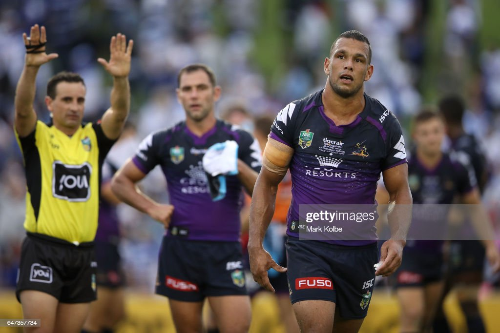 Will Chambers of the Storm looks dejected as he is given ten minutes in the sin bin for fighting during the round one NRL match between the Canterbury Bulldogs and the Melbourne Storm at Belmore Sports Ground on March 3, 2017 in Sydney, Australia.
