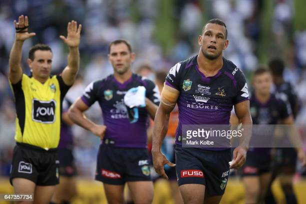 Will Chambers of the Storm looks dejected as he is given ten minutes in the sin bin for fighting during the round one NRL match between the...