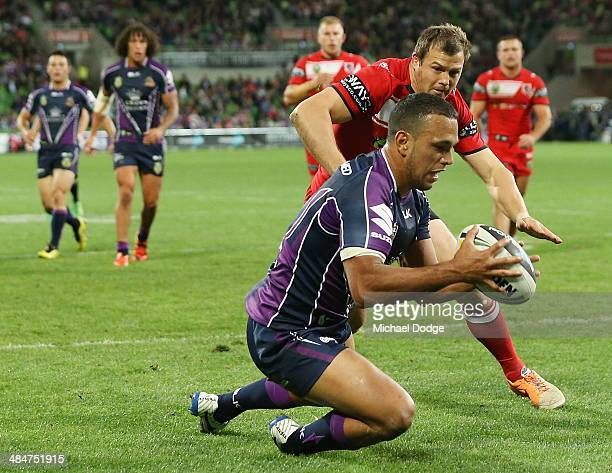Will Chambers of the Storm scores a try during the round 6 NRL match between the Melbourne Storm and the St George Illawarra Dragons at AAMI Park on...