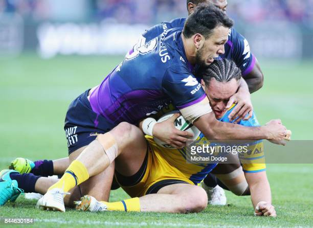 Will Chambers of the Storm tackles Brad Takairangi of the Eels during the NRL Qualifying Final match between the Melbourne Storm and the Parramatta...