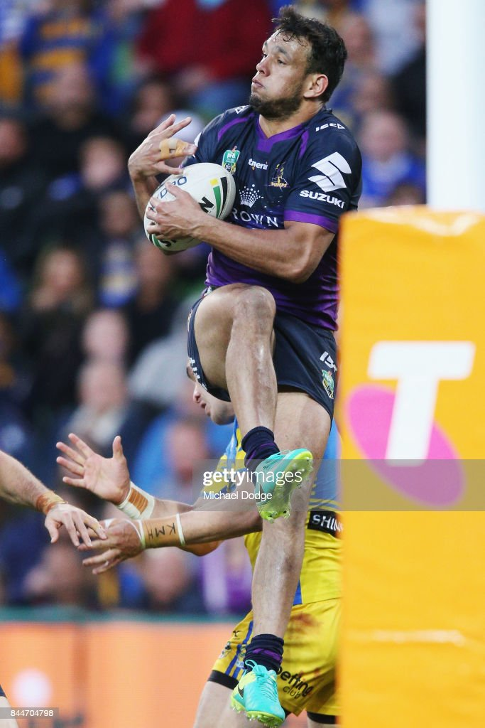 Will Chambers of the Storm takes a match saving catch in the dying minutes during the NRL Qualifying Final match between the Melbourne Storm and the Parramatta Eels at AAMI Park on September 9, 2017 in Melbourne, Australia.