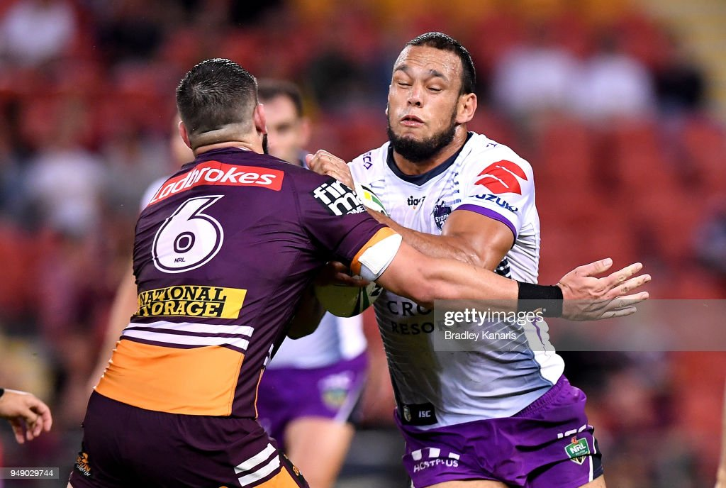 Will Chambers of the Storm takes on the defence during the round seven NRL match between the Brisbane Broncos and the Melbourne Storm at Suncorp Stadium on April 20, 2018 in Brisbane, Australia.