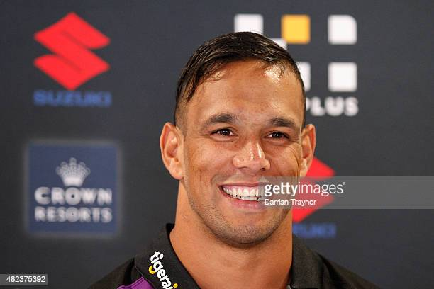 Will Chambers speaks to the media during a Melbourne Storm NRL media opportunity at AAMI Park on January 28 2015 in Melbourne Australia