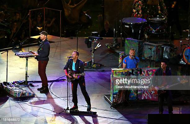 Will Champion Chris Martin Jonny Buckland and Guy Berryman of Coldplay perform during the closing ceremony on day 11 of the London 2012 Paralympic...