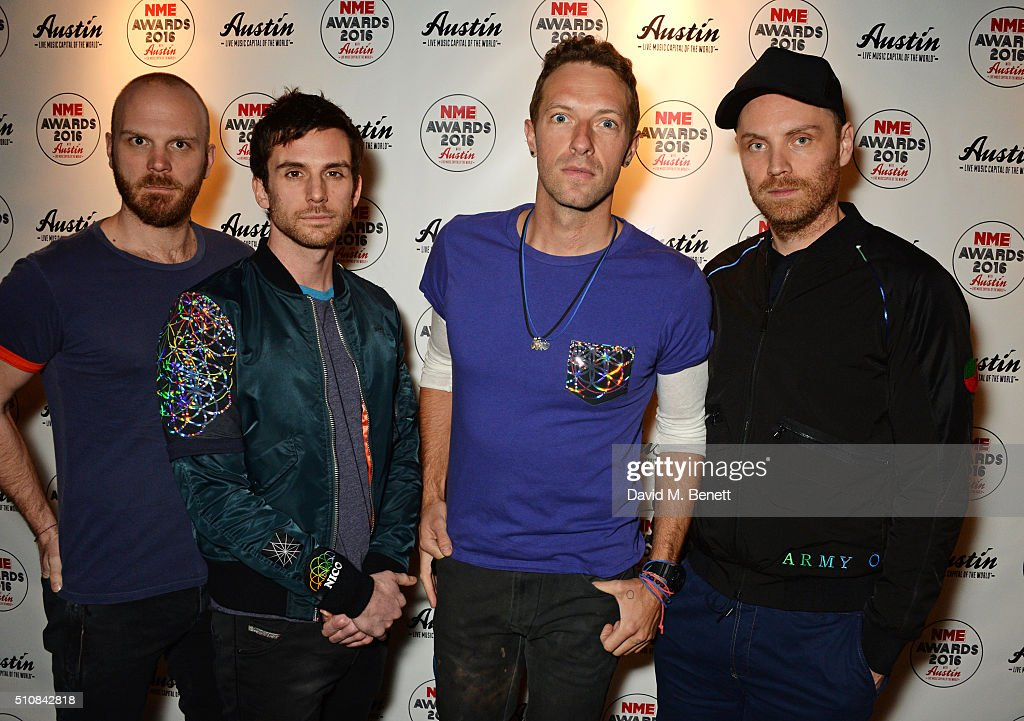 Will Champion, Guy Berryman, Chris Martin and Jonny Buckland of Coldplay attend the NME Awards with Austin, Texas, at the O2 Academy Brixton on February 17, 2016 in London, England.