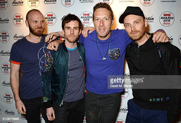 Will Champion, Guy Berryman, Chris Martin and Jonny Buckland of Coldplay attend the NME Awards with Austin, Texas, at the O2 Academy Brixton on...