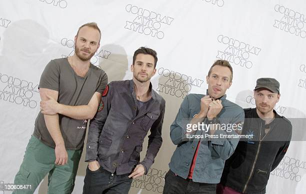 Will Champion Guy Berryman Chris Martin and Jonny Buckland of Coldplay present their lastest record 'Mylo Xyloto' at Puerta America on October 26...