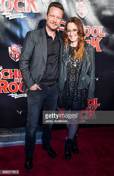 Will Chase and Ingrid Michaelson attend School Of Rock Broadway opening night at Winter Garden Theatre on December 6 2015 in New York City