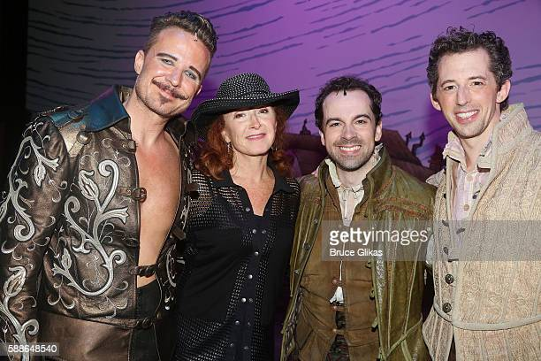 "Will Chase, Bonnie Raitt, Rob McClure and Josh Grizetti pose backstage at the hit musical ""Something Rotten"" at The St. James Theatre on August 11,..."