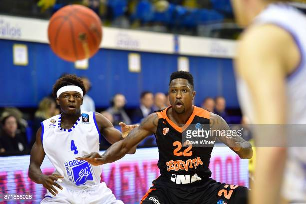 Will Cherry of Cedevita Zagreb and Sylvain Francisco of Levallois during the EuropCup match between Levallois Metropolitans and Cedevita Zagreb at...