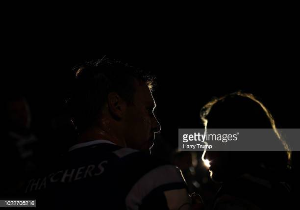 Will Chudley and Max Clark of Bath Rugby make their way off the pitch after the match during the Pre Season Friendly match between Bath and Scarlets...