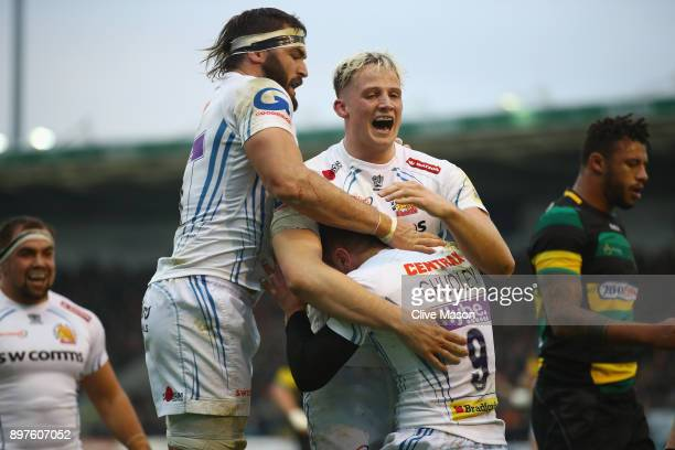 Will Chudley of Exeter Chiefs celebrates his try during the Aviva Premiership match between Northampton Saints and Exeter Chiefs at Franklin's...