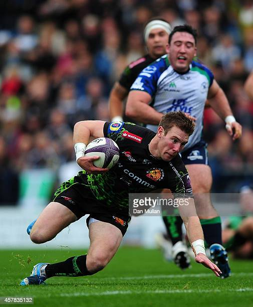 Will Chudley of Exeter Chiefs crosses the line to score the opening try during the European Rugby Challenge Cup match between Exeter Chiefs and...
