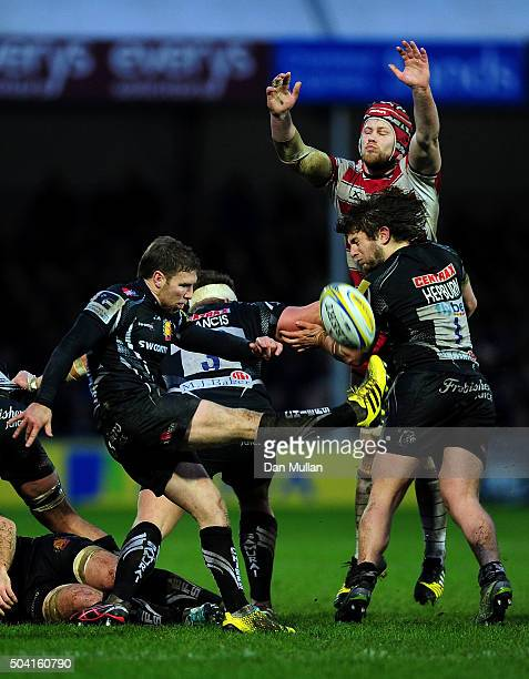 Will Chudley of Exeter Chiefs puts in a box kick during the Aviva Premiership match between Exeter Chiefs and Gloucester Rugby at Sandy Park on...