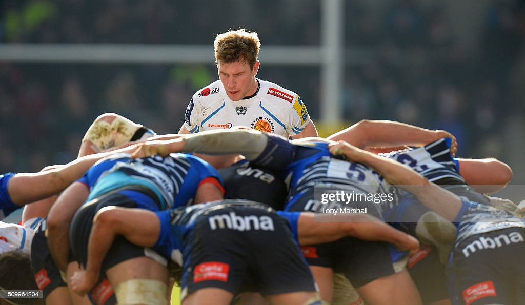 Will Chudley of Sale Sharks waits for the ball to emerge from the scrum during the Aviva Premiership match between Sale Sharks and Exeter Chiefs at the A J Bell Stadium on February 13, 2016 in Salford, England