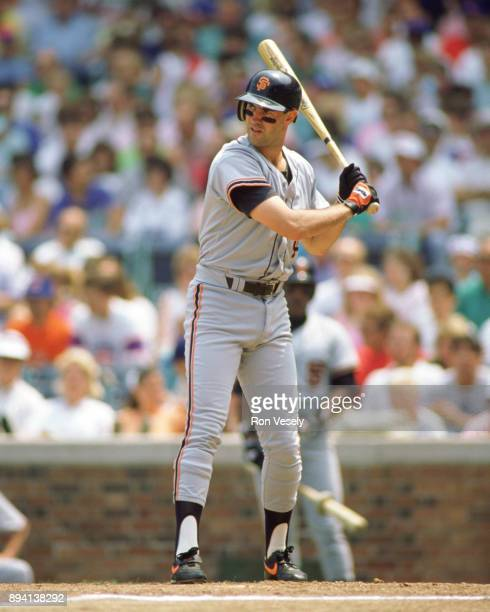 Will Clark of the San Francisco Giants bats during an MLB game at Wrigley Field in Chicago Illinois during the 1989 season