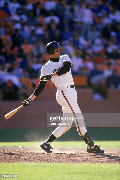 Will Clark of the San Francisco Giants swings during a 1987 season game at Candlestick Park in San Francisco California