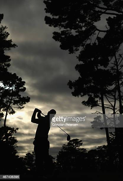 Will Claxton hits a tee shot on the 18th hole during the first round of the AT&T Pebble Beach National Pro-Am at Spyglass Hill Golf Course on...
