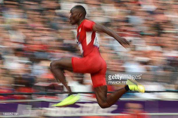 Will Claye competes in the men's triple jump final at the athletics event during the London 2012 Olympic Games on August 9, 2012 in London. AFP PHOTO...
