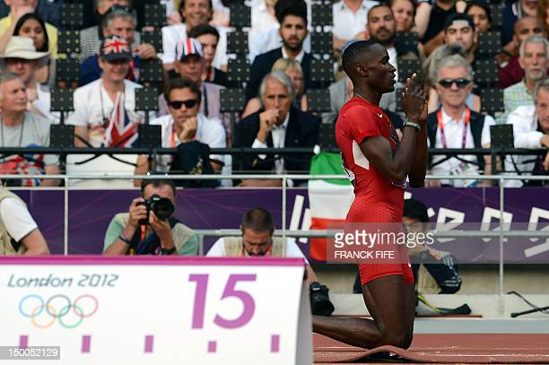 Will Claye gestures while competing in the men's triple jump final at the athletics event during the London 2012 Olympic Games on August 9, 2012 in...