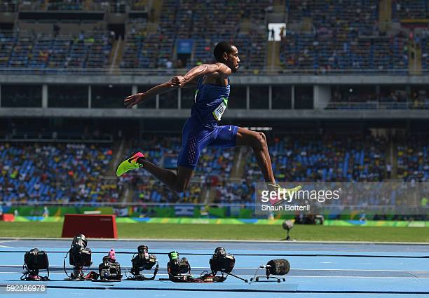 Will Claye of the United States competes during the Men's Triple Jump final on Day 11 of the Rio 2016 Olympic Games at the Olympic Stadium on August...
