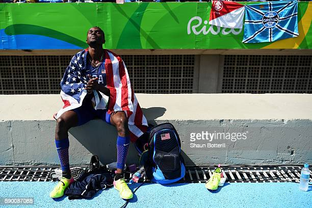 Will Claye of the United States reacts after winning the silver medal in the Men's Triple Jump Final on Day 11 of the Rio 2016 Olympic Games at the...