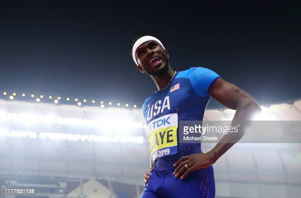 Will Claye of the United States reacts as he competes in the Men's Triple Jump final during day three of 17th IAAF World Athletics Championships Doha...