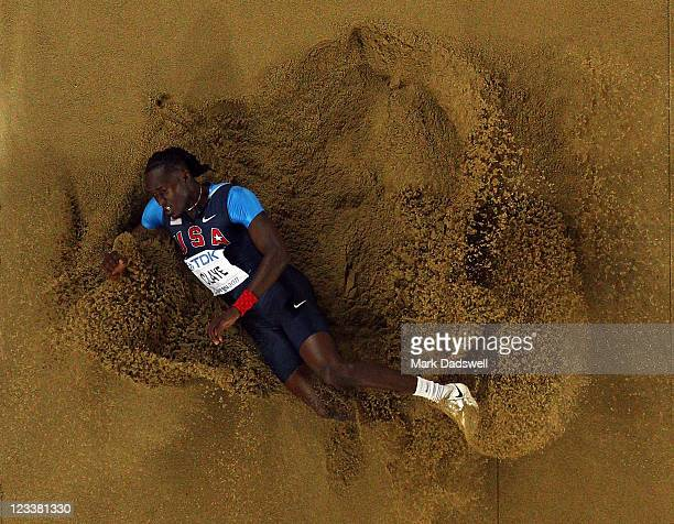 Will Claye of the USA competes during the men's long jump final during day seven of 13th IAAF World Athletics Championships at Daegu Stadium on...
