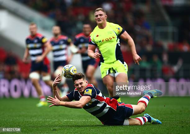 Will Cliff of Bristol dives for a ball during the Aviva Premiership match between Bristol Rugby and Sale Sharks at Ashton Gate on October 30, 2016 in...