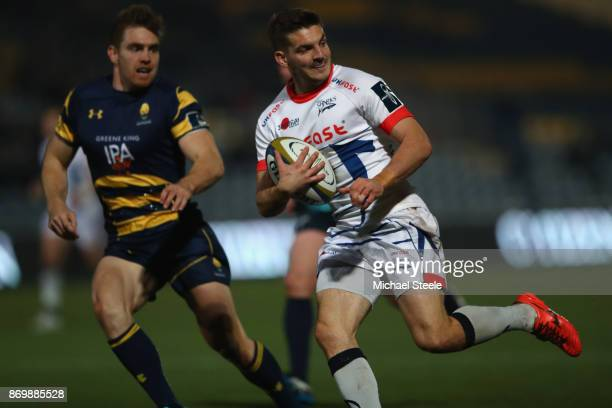 Will Cliff of Sale breaks away to score a try during the AngloWelsh Cup match between Worcester Warriors and Sale Sharks at Sixways Stadium on...