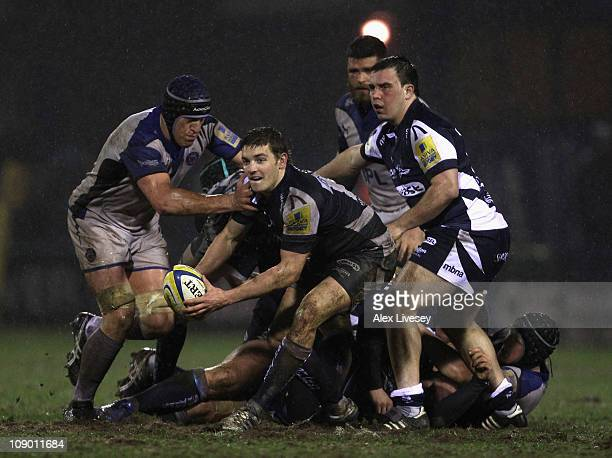 Will Cliff of Sale Sharks brings the ball out of a scrum under pressure from Ben Skirving of Bath during the Aviva Premiership match between Sale...