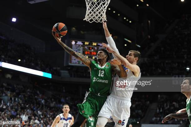 Will Clyburn #12 forward of Darussafaka Dogus Istanbul and Andres 'Chapu' Nocioni #6 forward of Real Madrid during the 2016/2017 Turkish Airlines...