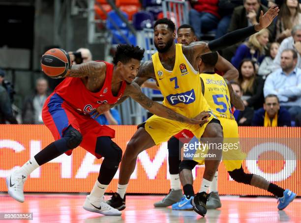 Will Clyburn #21 of CSKA Moscow competes with Deandre Kane #7 of Maccabi Fox Tel Aviv in action during the 2017/2018 Turkish Airlines EuroLeague...